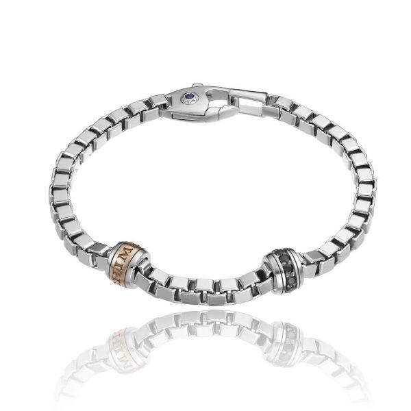 Bracciale Chimento Uomo Argento Bicolore con Zaffiri e Diamanti